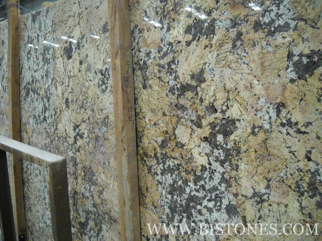 Crystalline Stone Slabs : Crystal yellow granite tiles slabs and